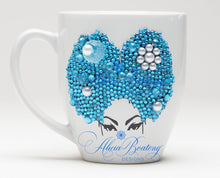 Load image into Gallery viewer, AFRO Glam Collection (Rayne) Aquamarine & Pearl Empowering Women coffee tea cup bling cup