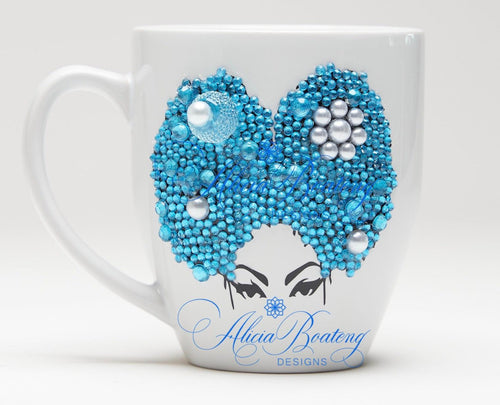 AFRO Glam Collection (Rayne) Aquamarine & Pearl coffee tea cup Afrocentric bling cup