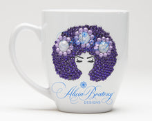 Load image into Gallery viewer, AFRO Glam Collection (Layla) Purple & Lavender  coffee tea Afrocentric Bling cup