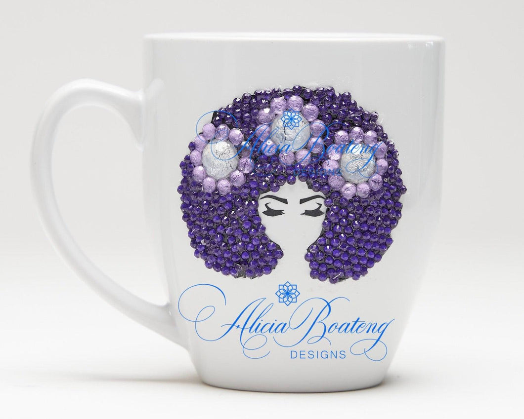 AFRO Glam Collection (Layla) Purple & Lavender  coffee tea Afrocentric Bling cup