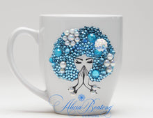 Load image into Gallery viewer, AFRO Glam Collection (Marie Claire) Aquamarine / Pearls Empowering Women coffee tea cup bling cup