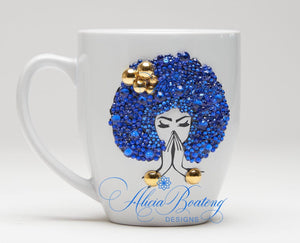 AFRO Glam Collection (Mary Lou)  Blue / Gold Empowering Women coffee tea cup bling cup
