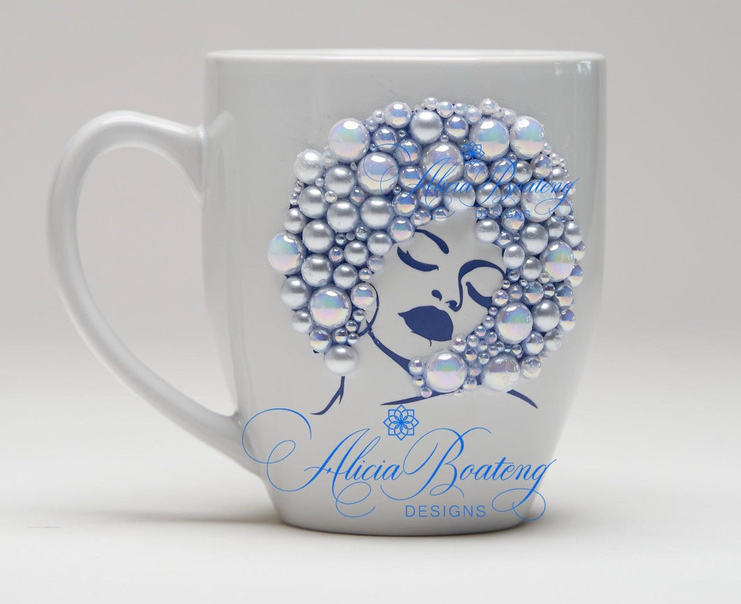 AFRO Glam Collection (Opal) Blue silhouette w/ Pearls coffee tea Afrocentric bling cup