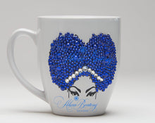 Load image into Gallery viewer, AFRO Glam Collection (Sheila) Blue / Rhinestones coffee tea Afrocentric bling cup