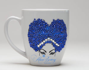 AFRO Glam Collection (Sheila) Blue / Rhinestones coffee tea Afrocentric bling cup