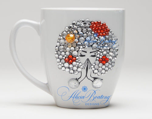 AFRO Glam Collection (Tangela) Orange  / Rhinestones coffee tea cup  Afrocentric bling cup