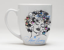 Load image into Gallery viewer, AFRO Glam Collection (Diva) Silver/Black coffee tea cup Afrocentric bling cup