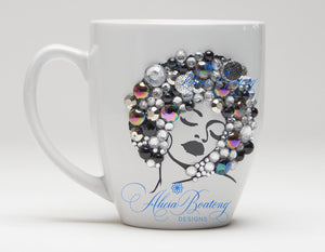 AFRO Glam Collection (Diva) Silver/Black coffee tea cup Afrocentric bling cup