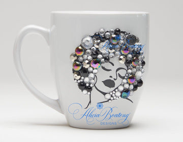 AFRO Glam Collection (Diva) Silver/Black  Empowering Women coffee tea cup bling cup