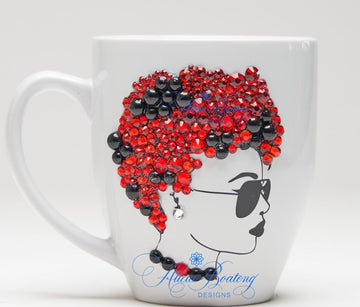 AFRO Glam Collection (Roxy) Red / Black Empowering Women coffee tea cup bling cup