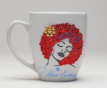 Afro Glam Collection (Sasha) Red / Gold Empowering Women coffee tea cup bling cup