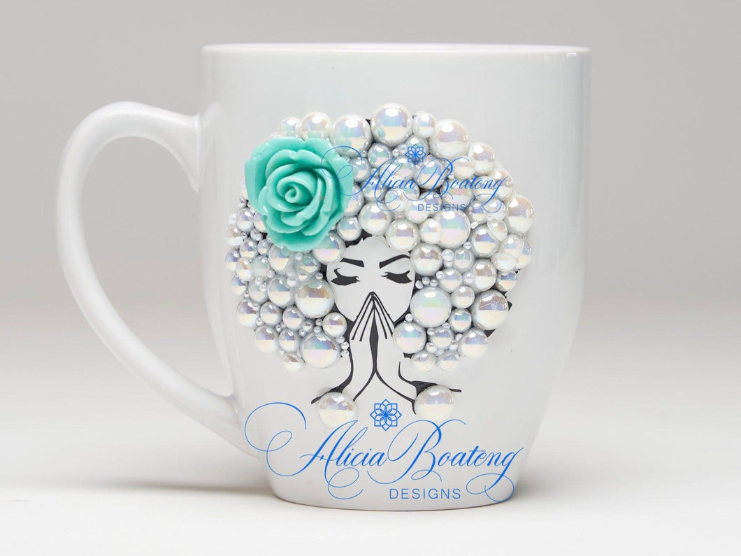 AFRO Glam Collection (Lolah) Pearl with accent flower, coffee tea cup Afrocentric bling cup