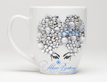 Load image into Gallery viewer, AFRO Glam Collection (Priscilla) Rhinestones / Silver coffee tea Afrocentric bling cup