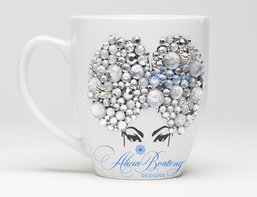 AFRO Glam Collection (Priscilla) Rhinestones / Silver coffee tea Afrocentric bling cup