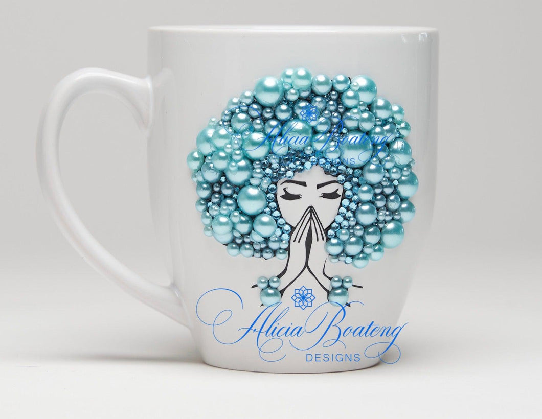 AFRO Glam Collection (Tiffany) Aquamarine / Teal Pearls Empowering Women coffee tea cup bling cup