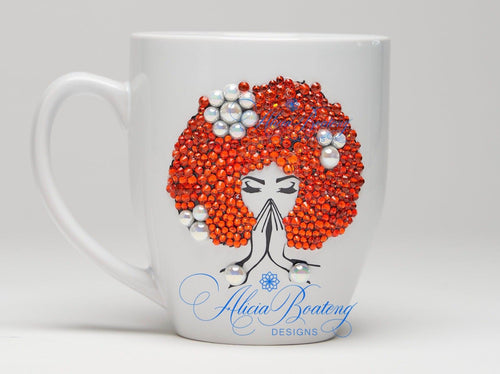 AFRO Glam Collection (Coral)  Orange  / Pearls coffee tea cup Afrocentric bling cup
