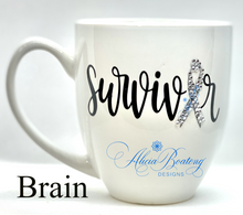 Load image into Gallery viewer, Brain Cancer SURVIVOR Coffee / Tea cup, Bling Coffee Cup,