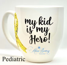 Load image into Gallery viewer, My kid is a HERO!  Pediatric Cancer Coffee / Tea cup, Bling Coffee Cup,