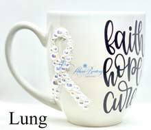 Load image into Gallery viewer, Faith, Hope, Cure Lung Cancer Coffee / Tea cup, Bling Coffee Cup,