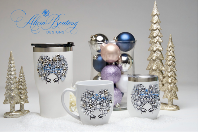 Afro Glam Priscilla HOLIDAY BUNDLE Coffee, tea, stainless steel tumbler, wine tumbler