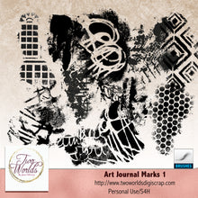 Load image into Gallery viewer, Art Journal Marks  + Brushes - 2Worlds Digi Scrap Supplies