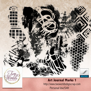 Art Journal Marks  + Brushes - 2Worlds Digi Scrap Supplies