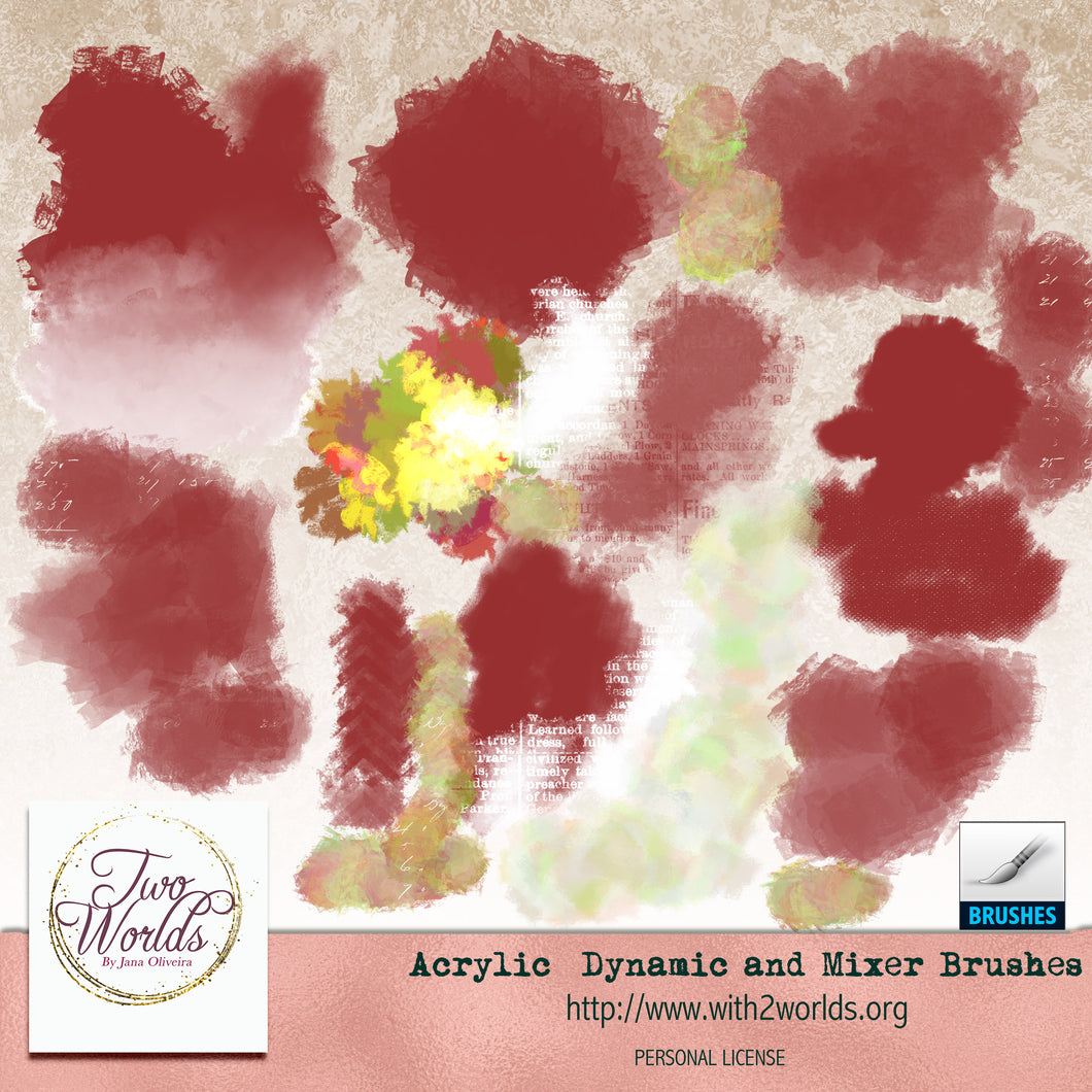 Acrylic Dynamic and Mixer Brushes Photoshop CC - 2Worlds Digi Scrap Supplies