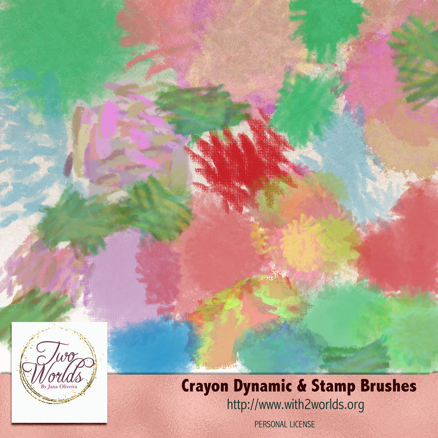 Crayon Dynamic and Stamp Brushes - 2Worlds Digi Scrap Supplies