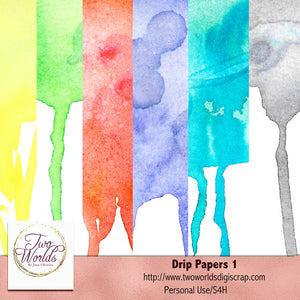 Drip Watercolor Papers - 2Worlds Digi Scrap Supplies