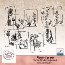Load image into Gallery viewer, Flower Squares - Digital Elements - 2Worlds Digi Scrap Supplies