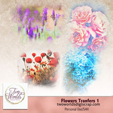 Load image into Gallery viewer, Flower Transfers 1 - 2Worlds Digi Scrap Supplies