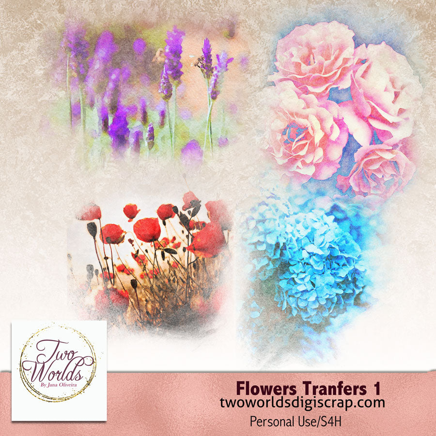 Flower Transfers 1 - 2Worlds Digi Scrap Supplies