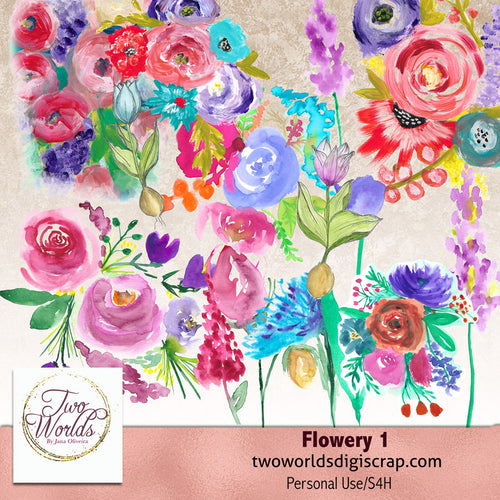 Flowery 1 - 2Worlds Digi Scrap Supplies