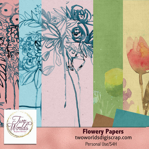 Flowery Papers 1 - 2Worlds Digi Scrap Supplies