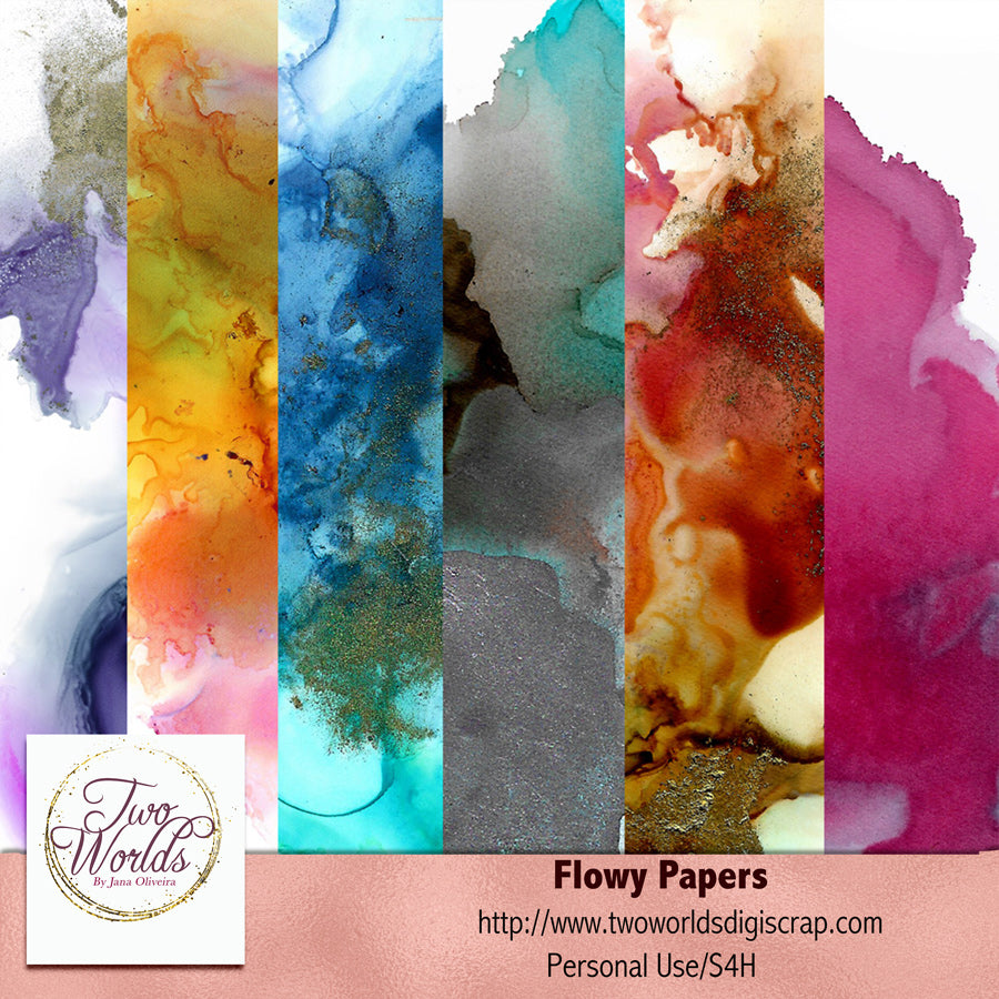 Flowy Papers - 2Worlds Digi Scrap Supplies