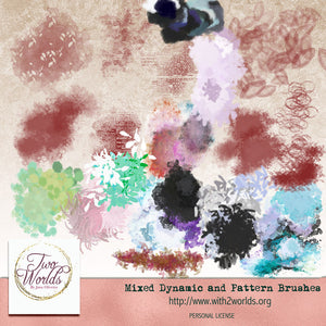 Mixed Dynamic and Pattern Brushes - Photoshop CC - 2Worlds Digi Scrap Supplies