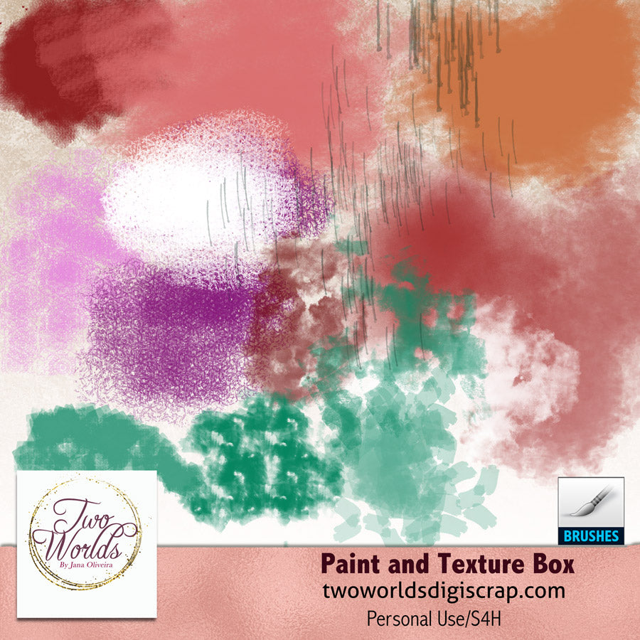 Paint and Texture Box Dynamic Brushes - 2Worlds Digi Scrap Supplies