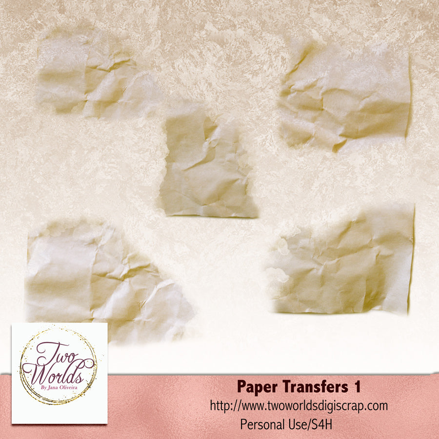Paper Transfers 1 - 2Worlds Digi Scrap Supplies