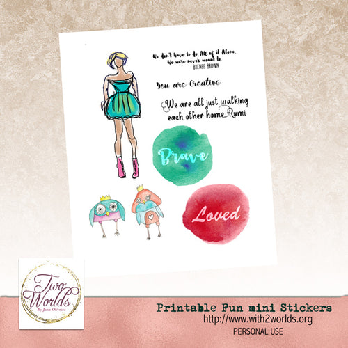 Fun Printable Stickers - 2Worlds Digi Scrap Supplies