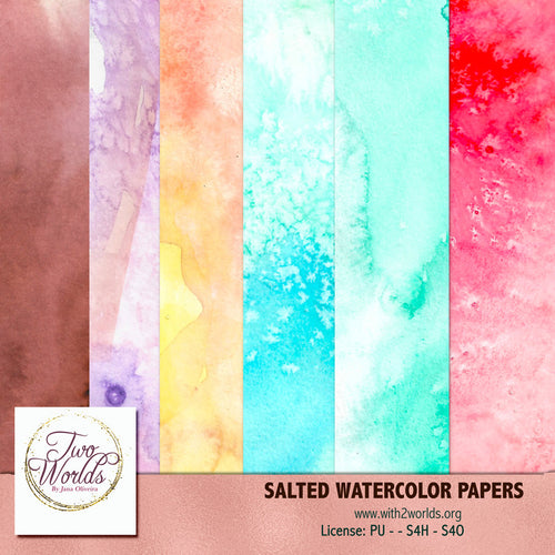 Salted Watercolors Papers - 2Worlds Digi Scrap Supplies