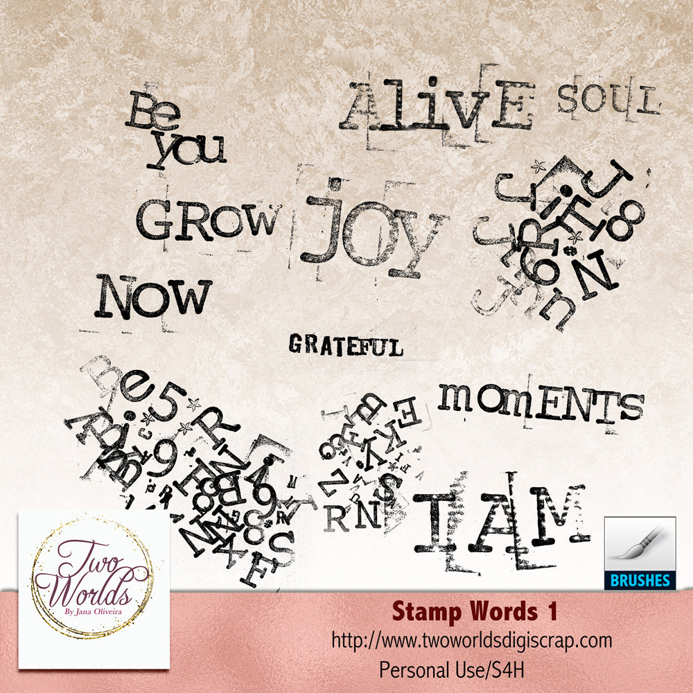 Stamp Words 1 - 2Worlds Digi Scrap Supplies