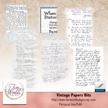 Load image into Gallery viewer, Vintage Paper Bits - 2Worlds Digi Scrap Supplies