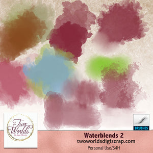Waterblends 2 dynamic brushes - 2Worlds Digi Scrap Supplies