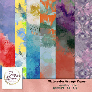 Watercolor Grunge Papers - 2Worlds Digi Scrap Supplies