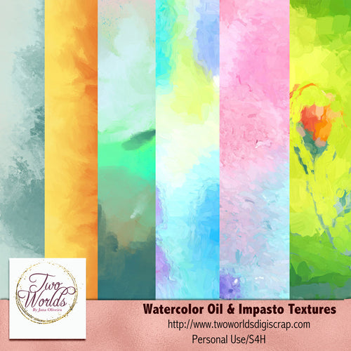 Watercolor and Oil Textures Papers - 2Worlds Digi Scrap Supplies