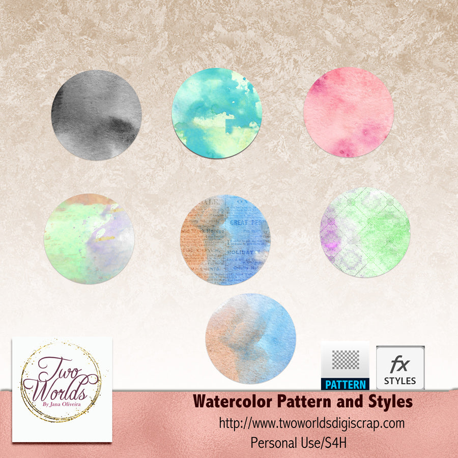 Watercolor Pattern and Styles - 2Worlds Digi Scrap Supplies