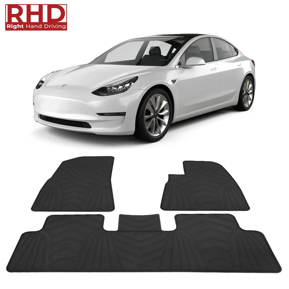 for RHD Tesla Model 3 All-Weather Floor Mats