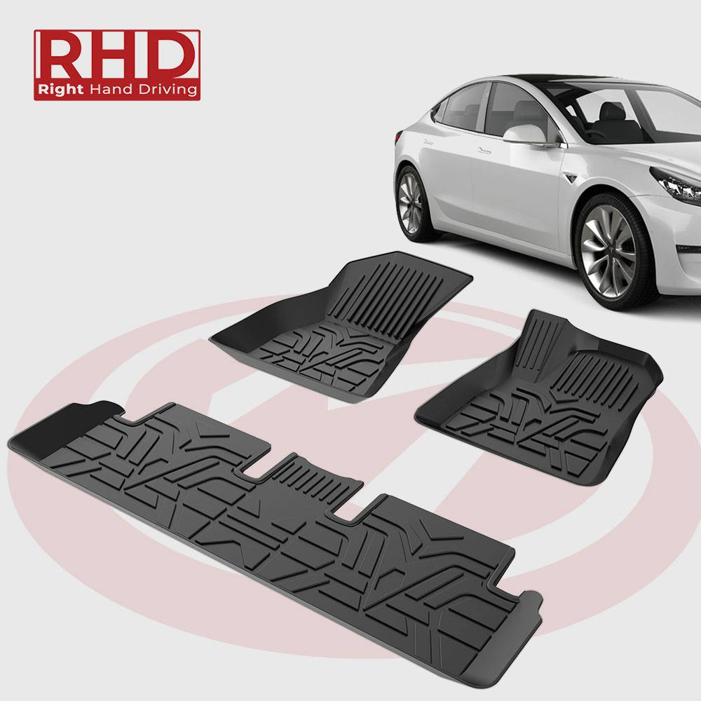 RHD Custome-designed All Coverage Floor Mats for Tesla Model  3, Perfect fit for United Kingdom Tesla Model 3