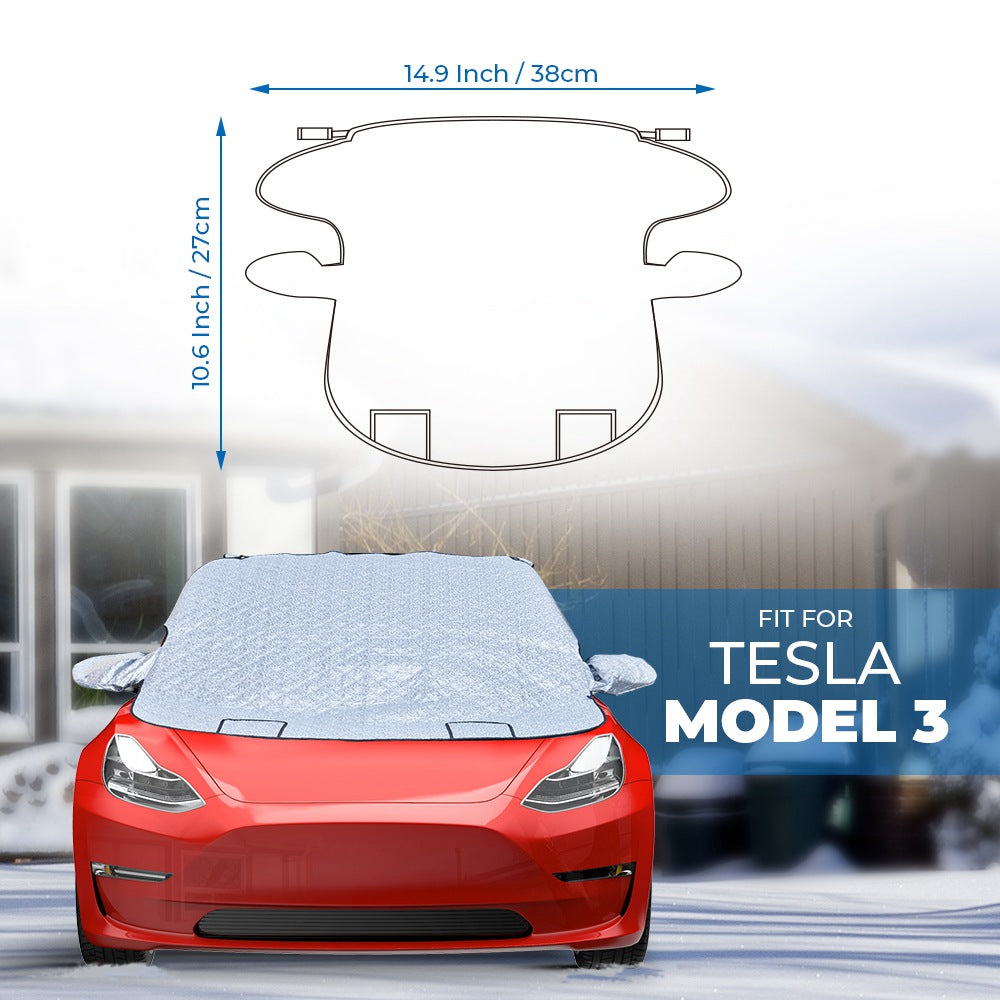 Windshield Snow Cover for Tesla Model 3, Buckle Straps & Storage Bag Design - Available in US & Canada