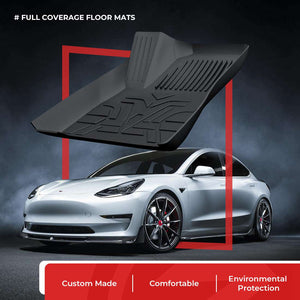 PRO Full Cover Floor mats (Front & Rear) Custom for Tesla Model 3
